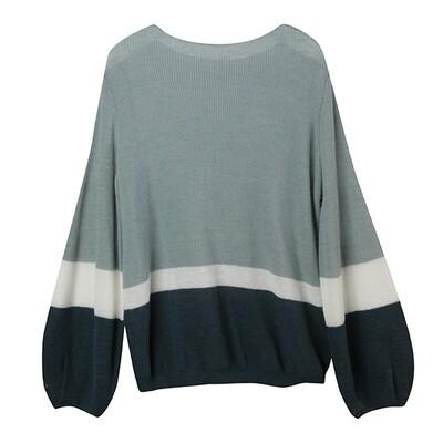 Puff Sleeve Colour-Blocked Baby Alpaca Sweater-MINT/EGGSHELL/BOTTLE