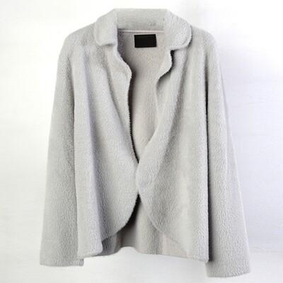 Nylon-fur Knitted Blazer-Ash