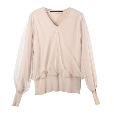 Tulle Layered V-Neck Knitted Top-SMOKE PINK
