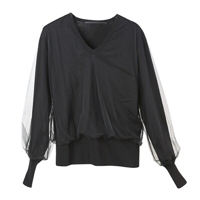 Tulle Layered V-Neck Knitted Top-BLACK