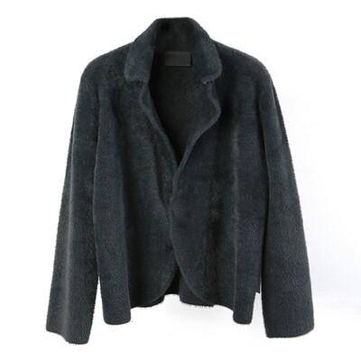 Nylon-fur Knitted Blazer-Dark Pine