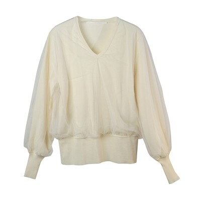 Tulle Layered V-Neck Knitted Top-VANILLA