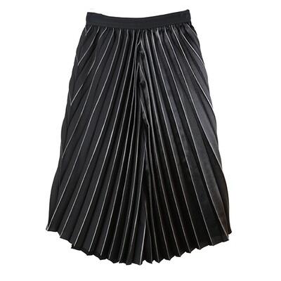 Asymetric Metalic Fit and Flare Pleated Skirt-BLACK