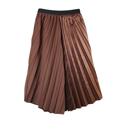 Asymetric Metalic Fit and Flare Pleated Skirt-COCO