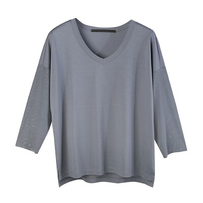 Relaxed Contrast Fabric V-Neck Top-BLUE MIRAGE