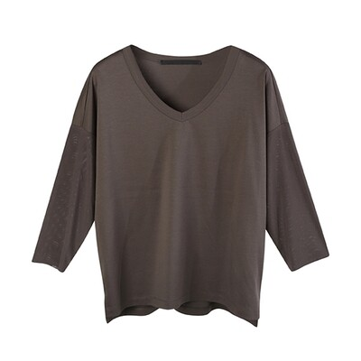 Relaxed Contrast Fabric V-Neck Top-CHOCOLATE