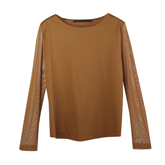 Light weight Chintz Cotton With Fine Mesh Sleeves Top-GINGER