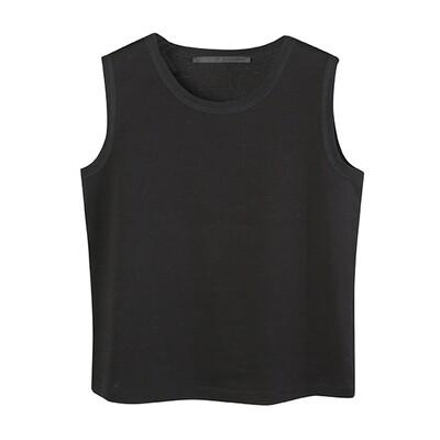 Mesh Trim Neckline Medium Weight Chintz Cotton Tank-BLACK
