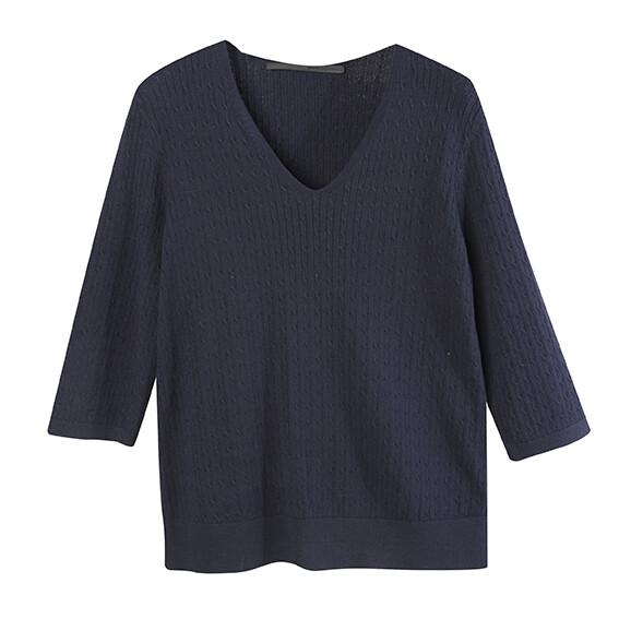 Mini Cable V Neck Sweater-ECLIPSE