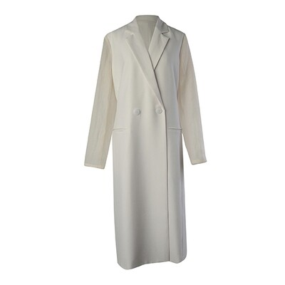 Fabric Blocking Poly Suiting Tailored Coat-ALMOND