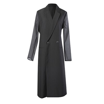 Fabric Blocking Poly Suiting Tailored Coat-BLACK
