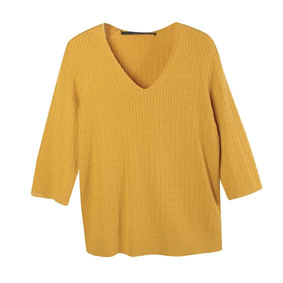 Mini Cable V Neck Sweater-MANGO