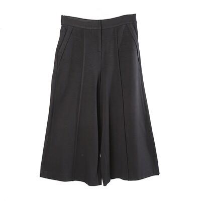Ring Spun Knit Culottes-BLACK