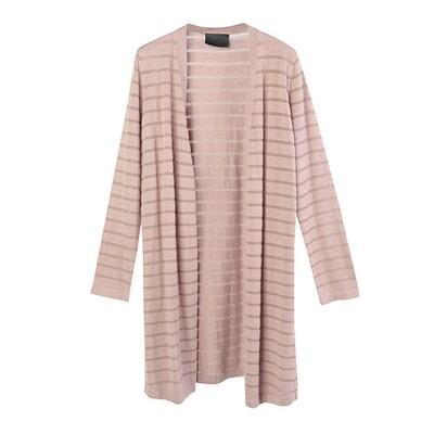 Transparent stripe sweater-PEACH