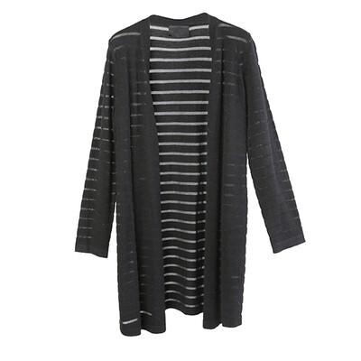 Transparent stripe sweater-BLACK