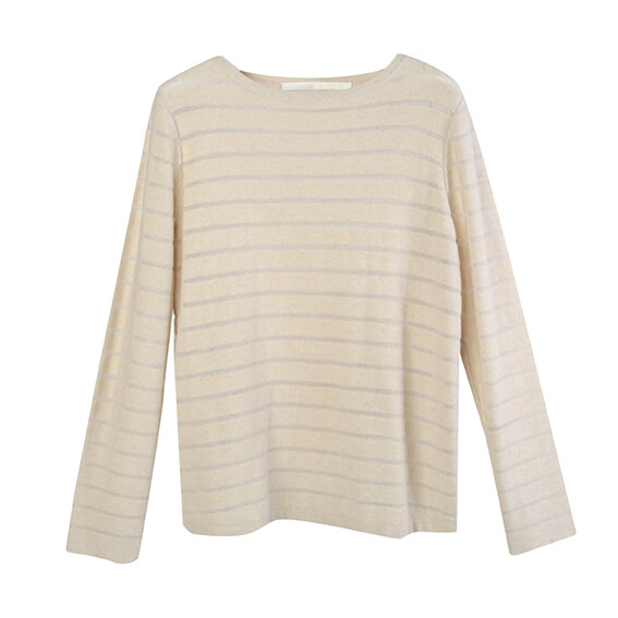 Boat Neck Transparent Stripe Sweater-ALMOND