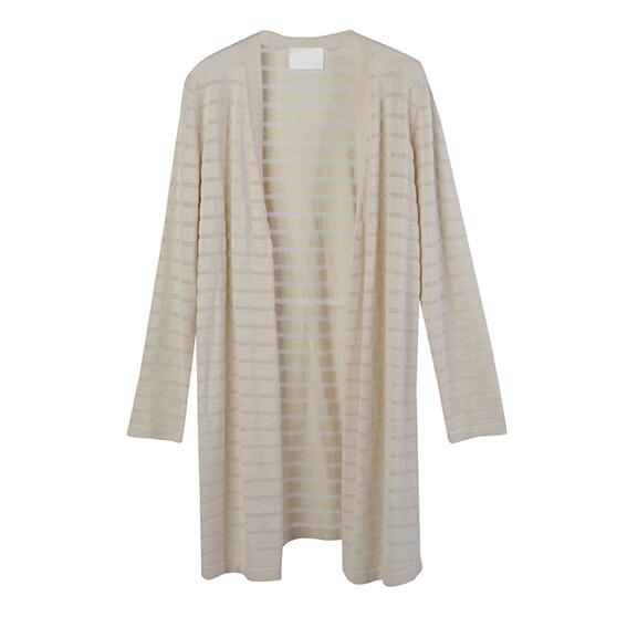 Transparent stripe sweater-ALMOND