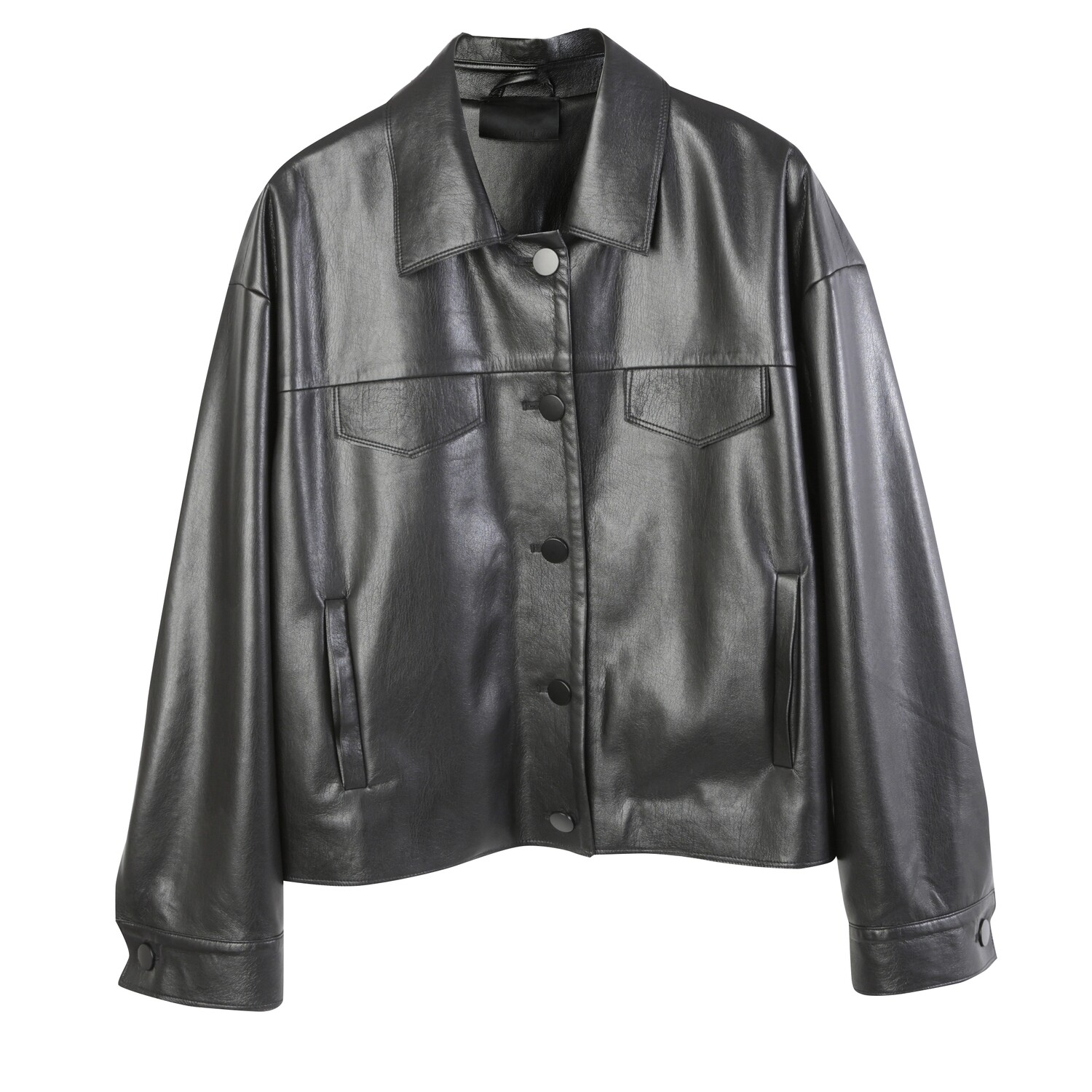 Superfine Faux Leather Causal Jacket-BLACK
