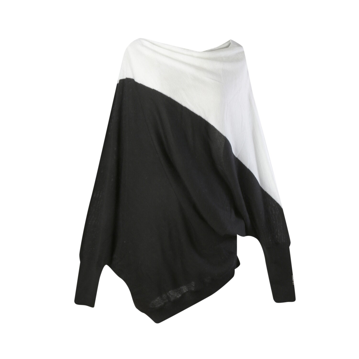 Colorblock Geometric Batwing Sweater-EGGSHELL/BLACK
