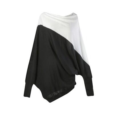 Colorblock Geometric Batwing Sweater-EGGSHELL/BLACK