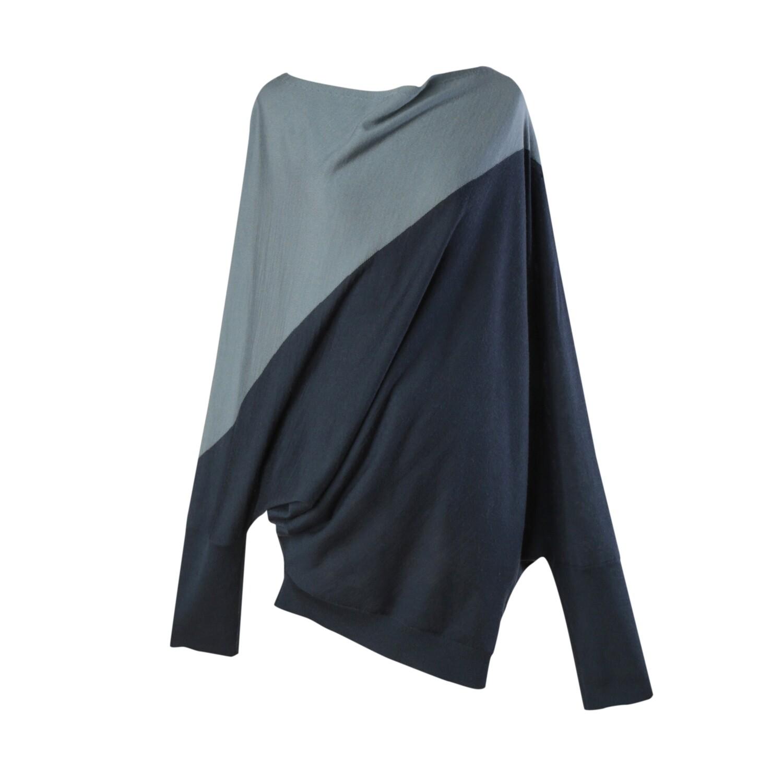 Colorblock Geometric Batwing Sweater-PEARL BLUE /ATLANTIC
