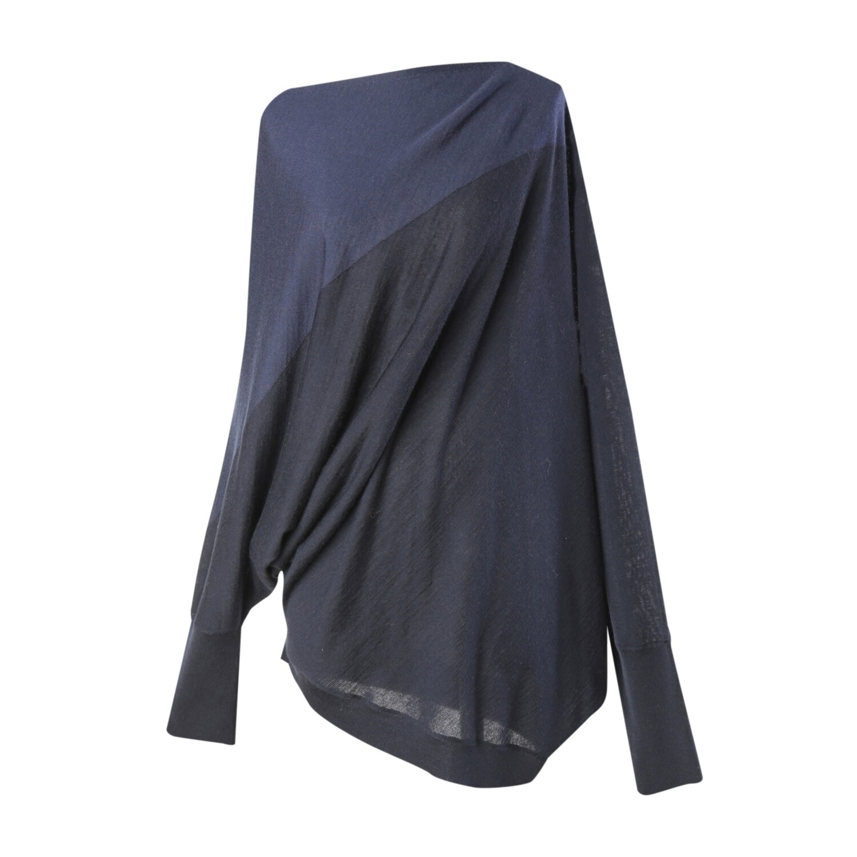 Colorblock Geometric Batwing Sweater- NAVY/ECLIPSE
