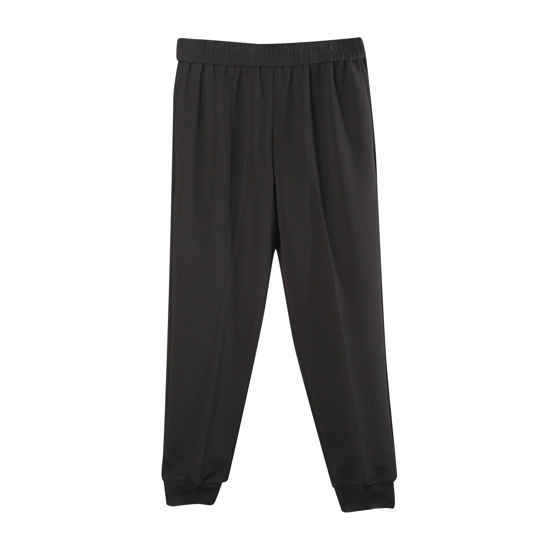 Knit Crepe Track Pants-BLACK
