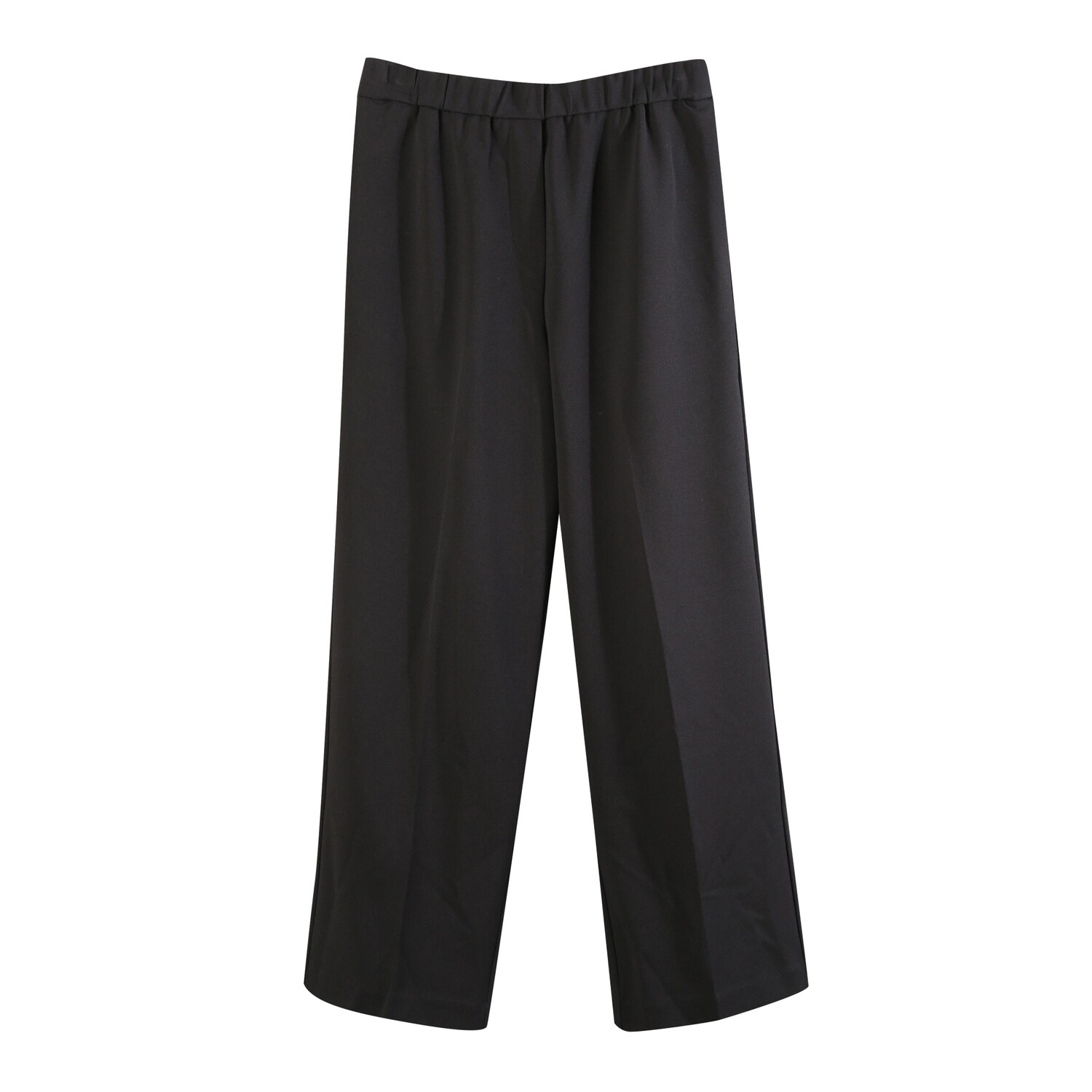 Knit Crepe Classic Long Pants-BLACK