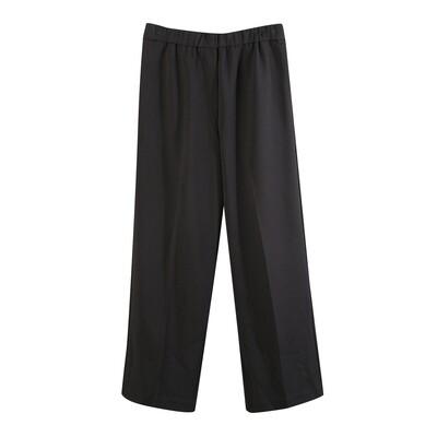 Knit Crepe Classic Long Pants-BLACK