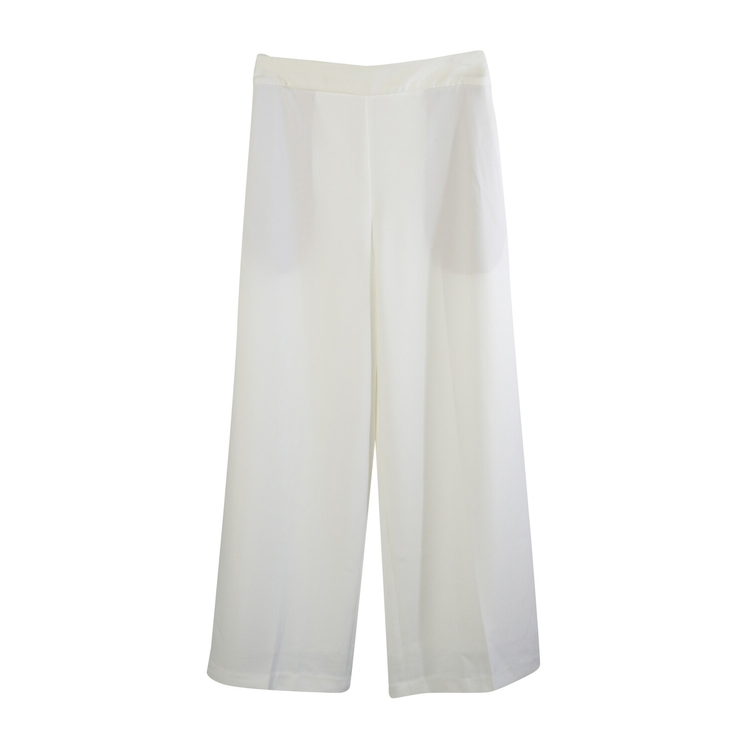 Organza Waistband Poly Suiting Wide Leg Pants-EGGSHELL