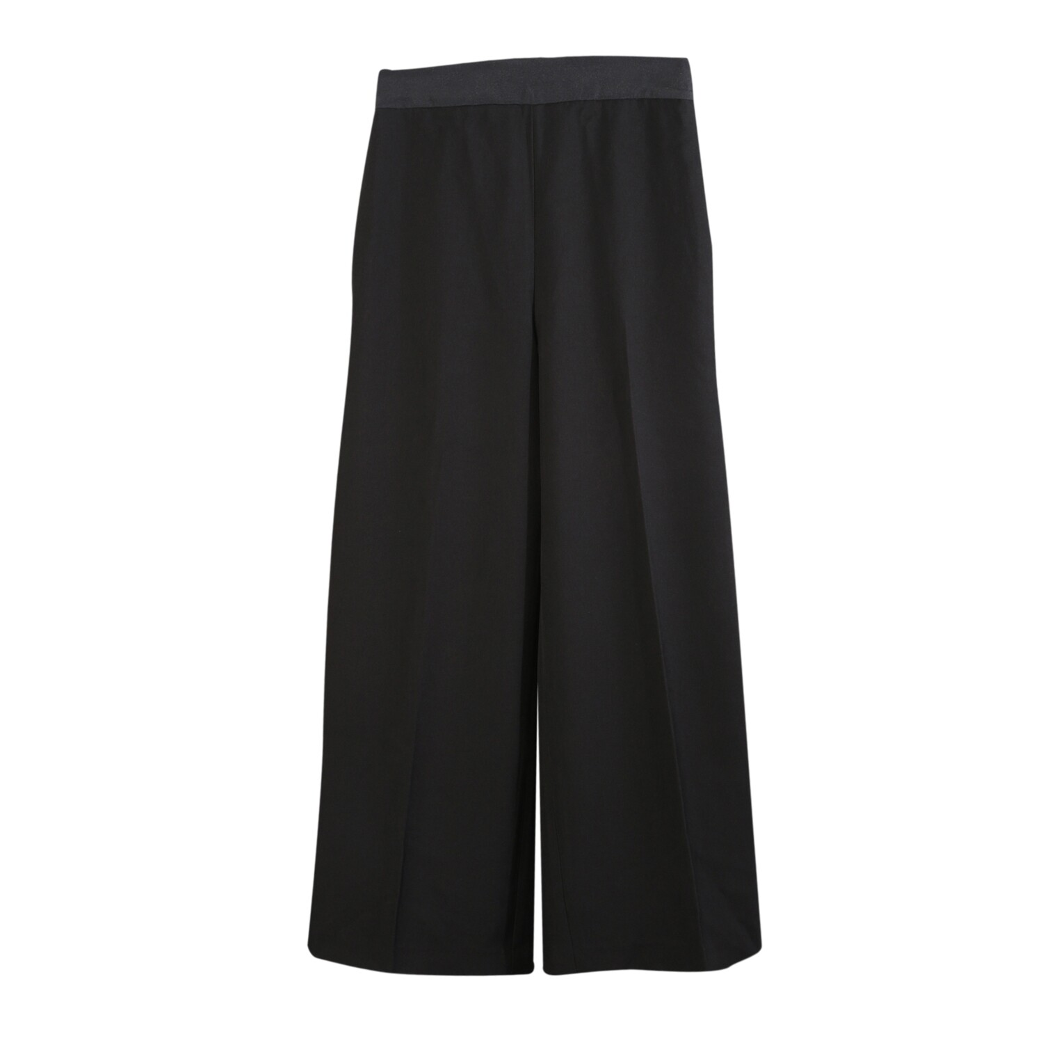 Organza Waistband Poly Suiting Wide Leg Pants-BLACK