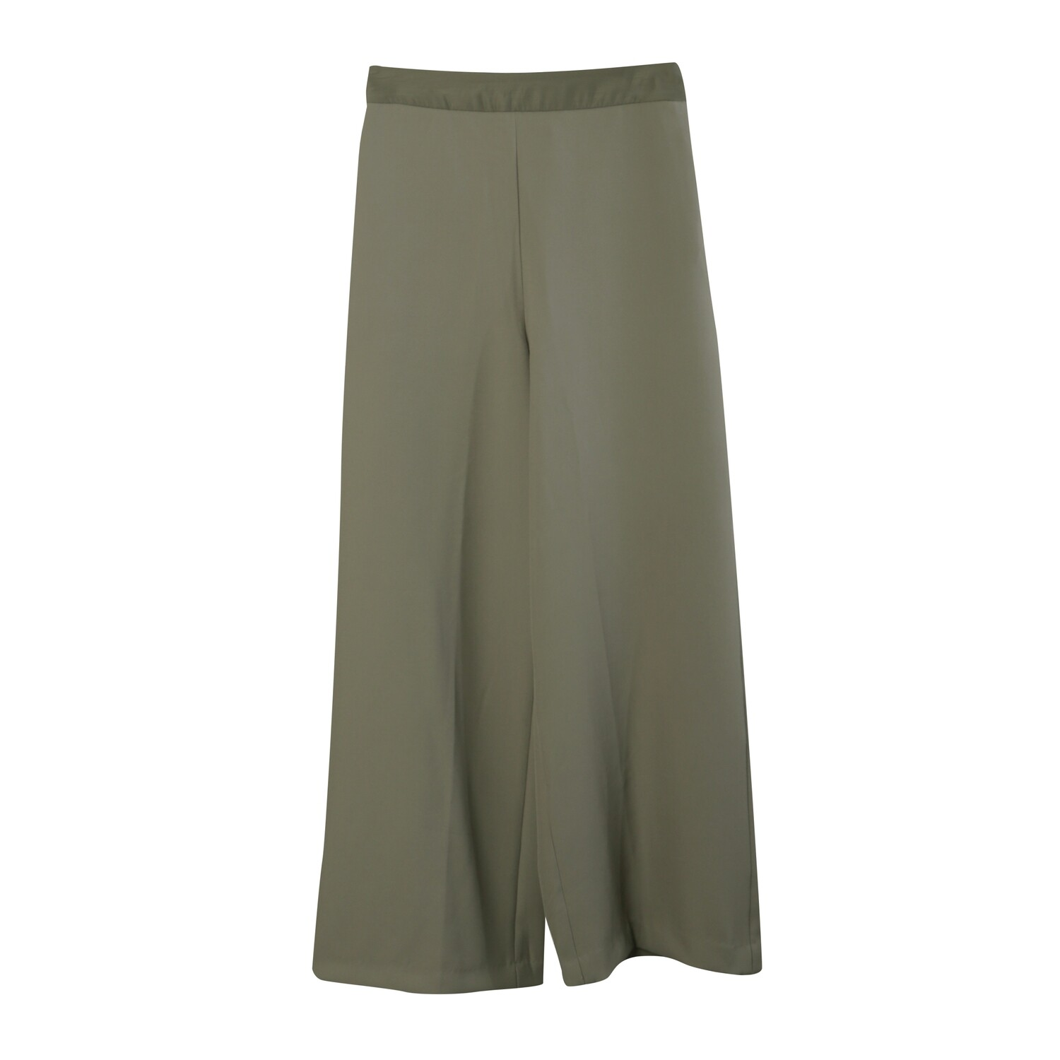 Organza Waistband Poly Suiting Wide Leg Pants-STONE
