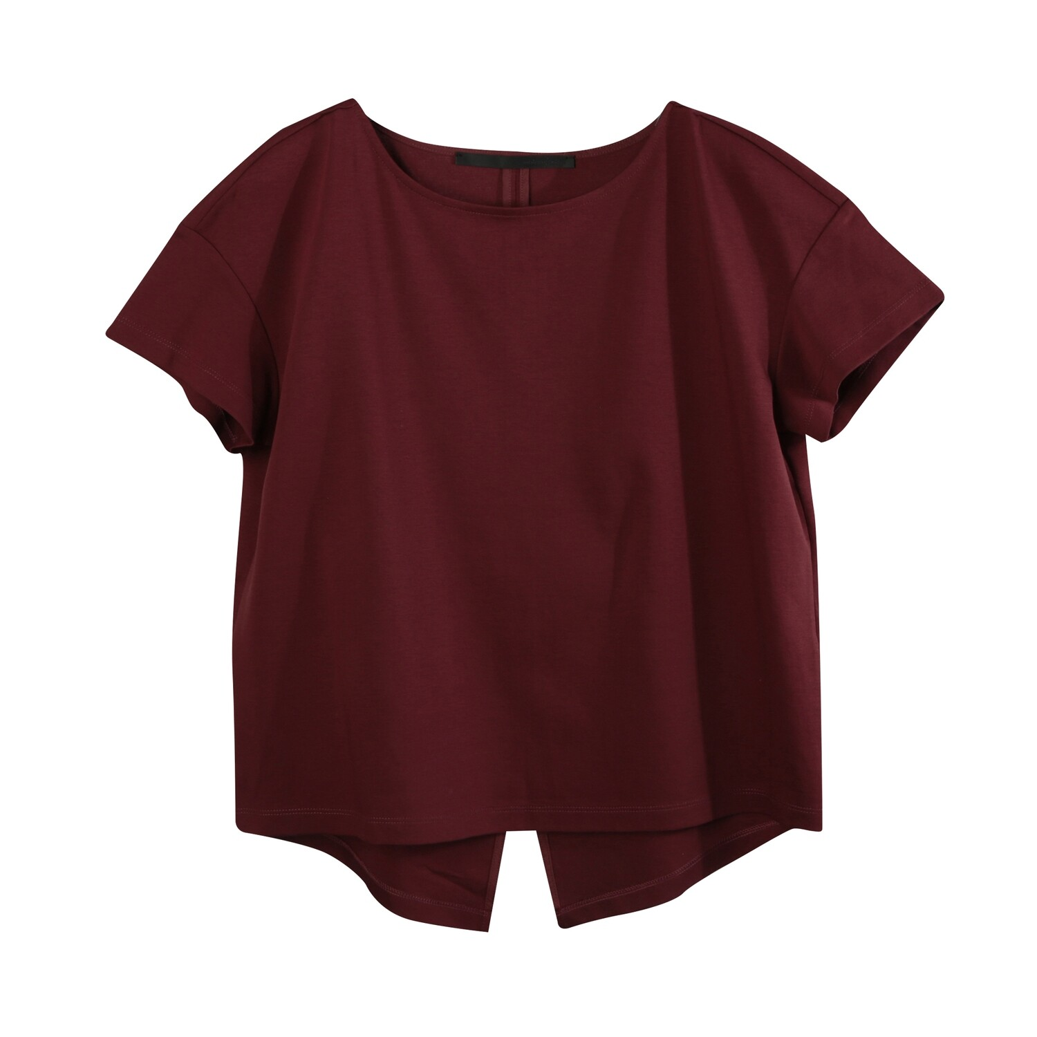 ​Back Slit Medium Weight Chintz Cotton Top-RED BEAN