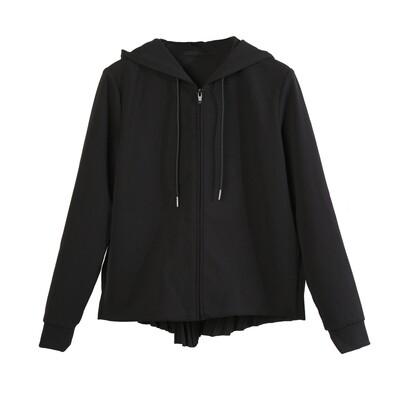 Sunray Pleated Back Panel Zip-Up Hoodie-BLACK
