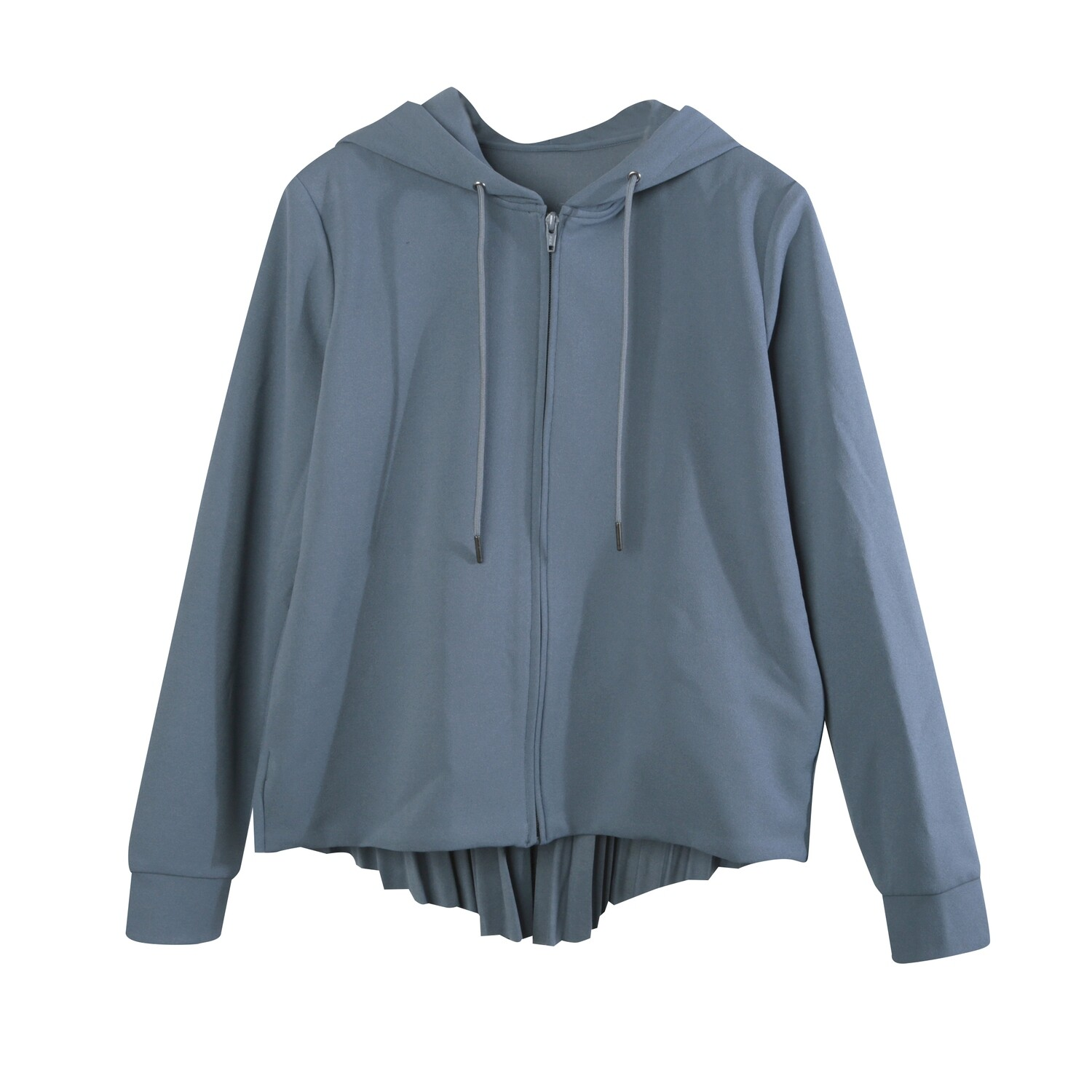 ​Sunray Pleated Back Panel Zip-Up Hoodie-INK