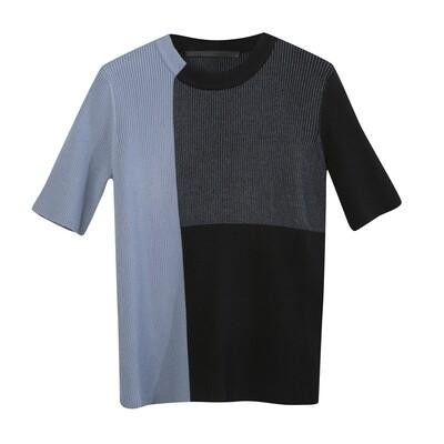 Color Blocking Ribbed Knit Top -BLACK/SEA