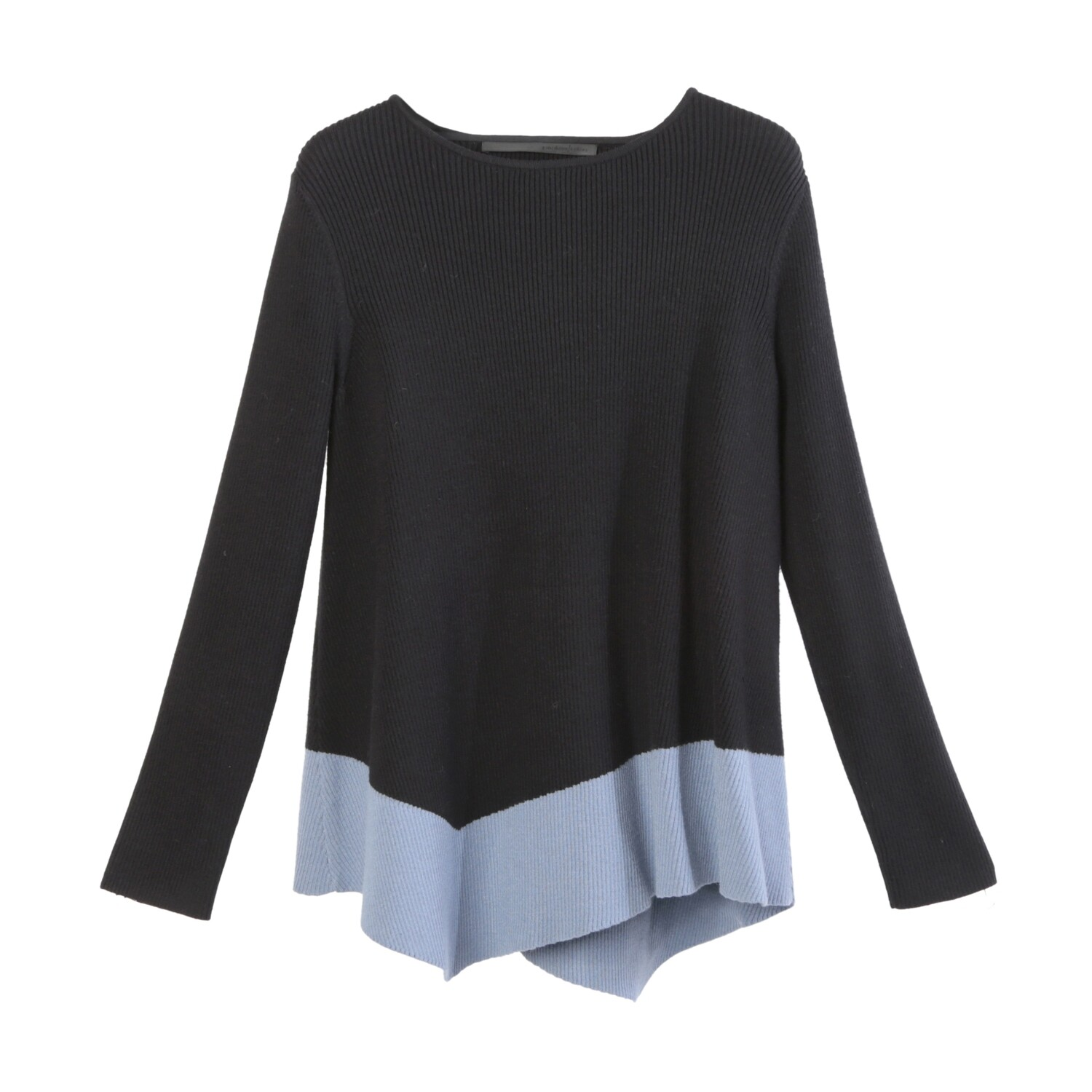 Color Blocking Asymmetrical A-Line Knitted Top -BLACK/SEA