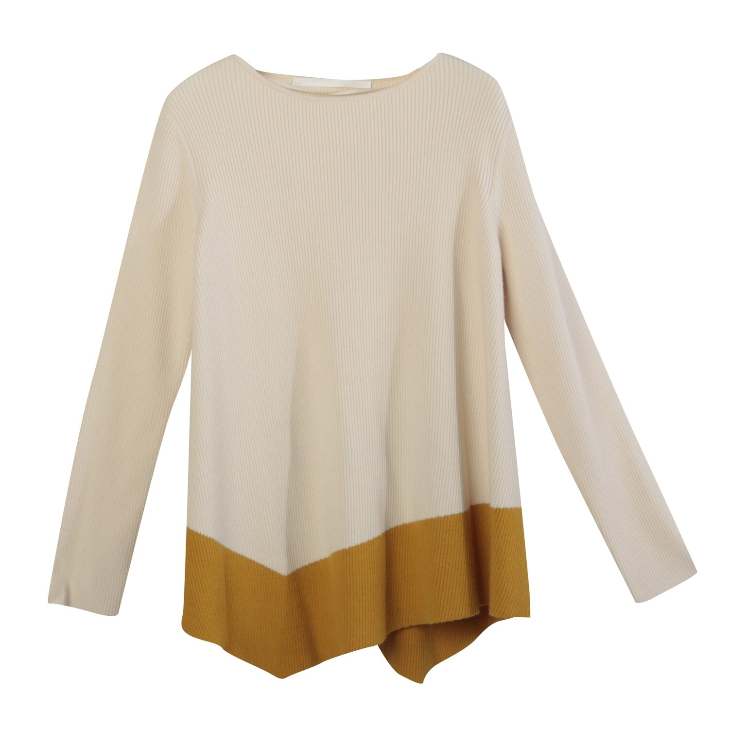 Color Blocking Asymmetrical A-Line Knitted Top -ALMOND/MANGO