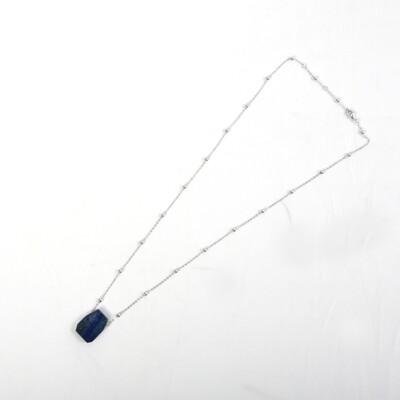 Irregular Geometric Shape Lapis Chain Necklace-SILVER GREY/ROSEGOLD