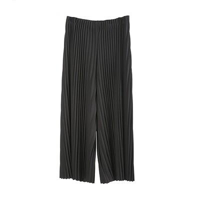 Pin Tuck Pleated Culottes-BLACK