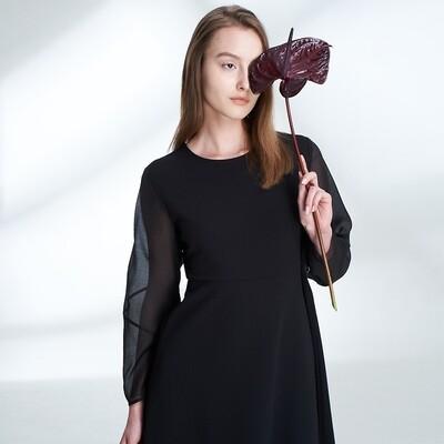 Twill Knit Sculptural Organza Sleeves Dress-BLACK