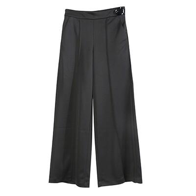 SHELL BUTTON WIDE PANTS -BLACK