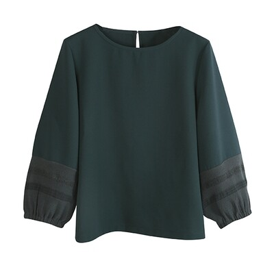 TEXTURE KNIT BALLOON SLEEVES TOP-TEAL