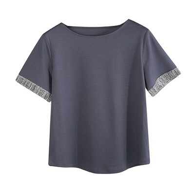 SESAME MIX YARN TRIMMED SHORT SLEEVE TOP-STONE BLUE/TEAL