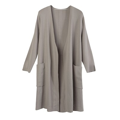 V NECK LONG SLEEVE CARDIGAN WITH WAISTBAND- LT TAUPE