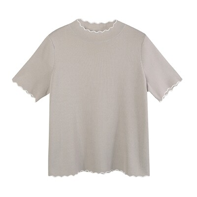 CONTRAST WAVY EDGE LITTLE TOP-  LT TAUPE/EGGSHELL