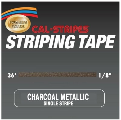 Cal-Stripes® Charcoal Metallic Single Pinstriping Tape 1/8