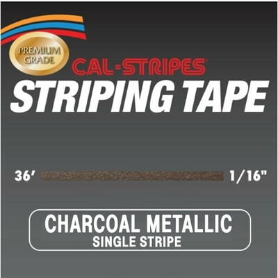 Cal-Stripes® Charcoal Metallic Single Pinstriping Tape- 1/16