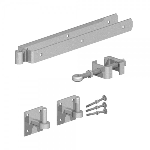 Field gate adjustable hinges with hooks on plate