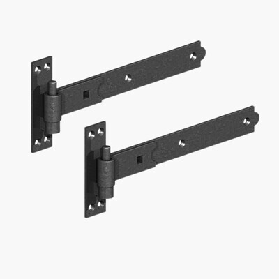 600mm Straight Band & Hook on Plate Epoxy Black (Pair)